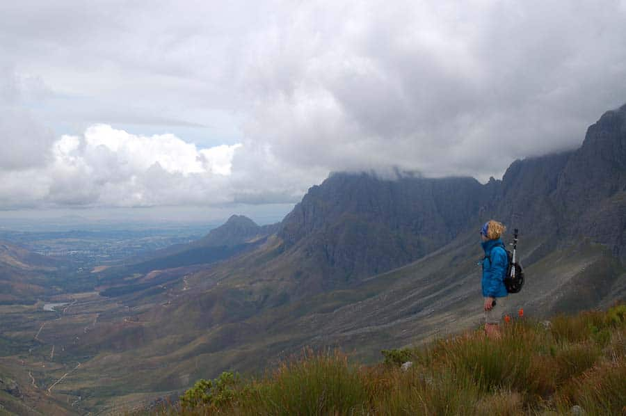 Looking back at Stellenbosch from Kurktrekkersnek (Corkscrew Pass) on the Panorama Trail.