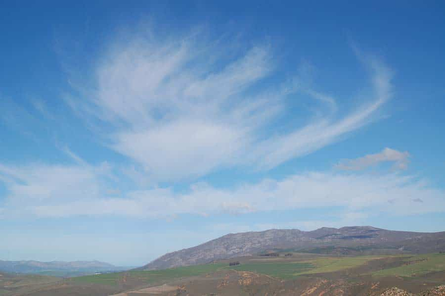 Random, wispy cirrus clouds promise good weather for a few days.
